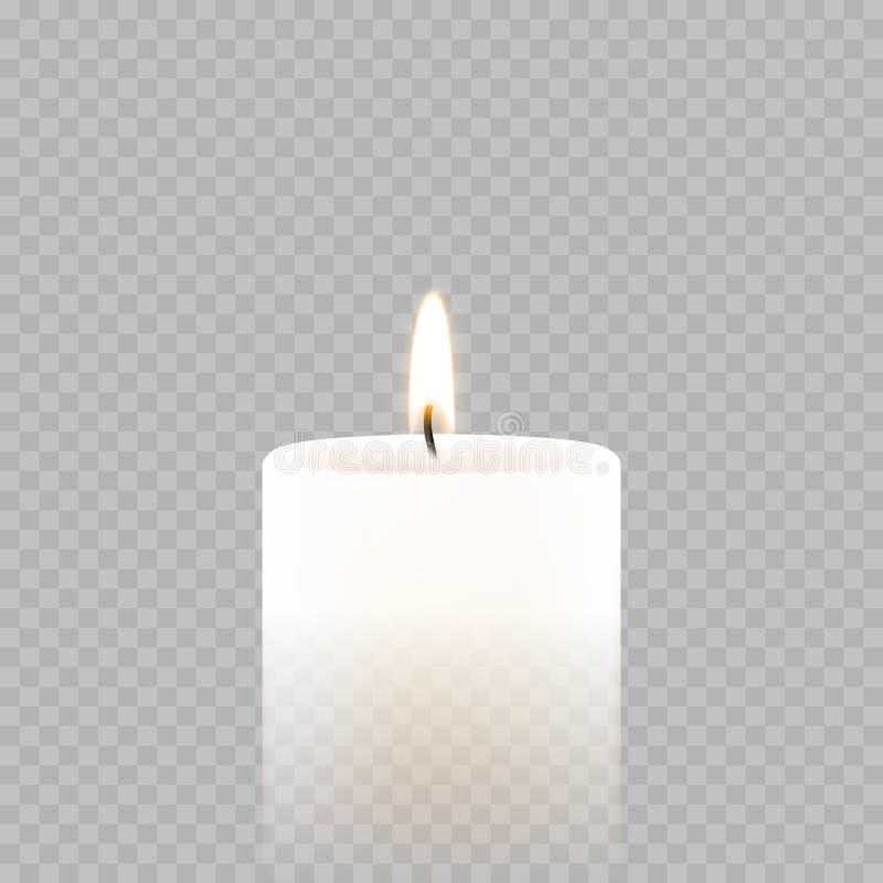 Κερί tealight ή ελαφριά διανυσματική τρισδιάστατη ρεαλιστική πυρκαγιά φλογών εικονιδίων τσαγιού καίγοντας απεικόνιση αποθεμάτων