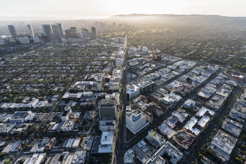 Κεραία Καλιφόρνιας Μπέβερλι Χιλς Blvd Wilshire στοκ εικόνα