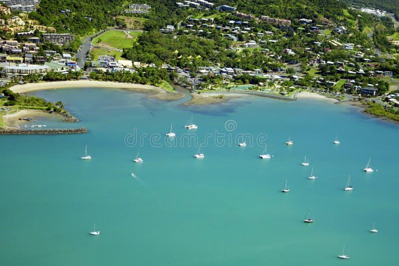 Κεραία της πόλης παραλιών σε Whitsundays Αυστραλία στοκ εικόνα με δικαίωμα ελεύθερης χρήσης