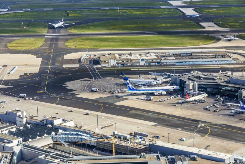 Κεραία του αερολιμένα στη Φρανκφούρτη στοκ εικόνα με δικαίωμα ελεύθερης χρήσης
