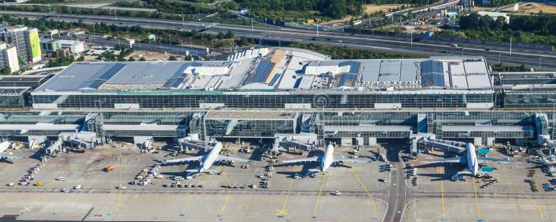 Κεραία του διεθνούς αερολιμένα της Φρανκφούρτης στοκ εικόνες