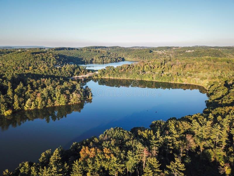 Κεραία Loganville, Πενσυλβανία γύρω από τη λίμνη Redman και τη λίμνη W στοκ εικόνα με δικαίωμα ελεύθερης χρήσης
