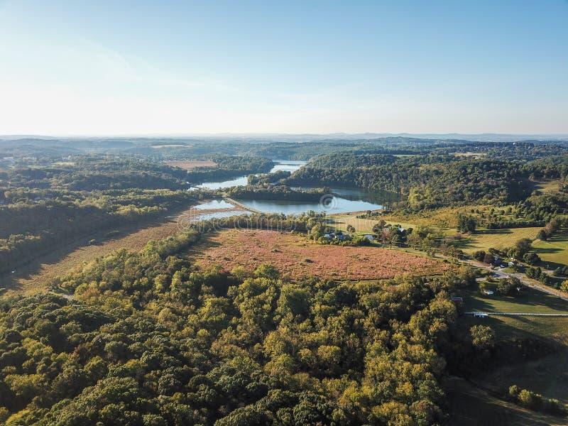 Κεραία Loganville, Πενσυλβανία γύρω από τη λίμνη Redman και τη λίμνη W στοκ εικόνες