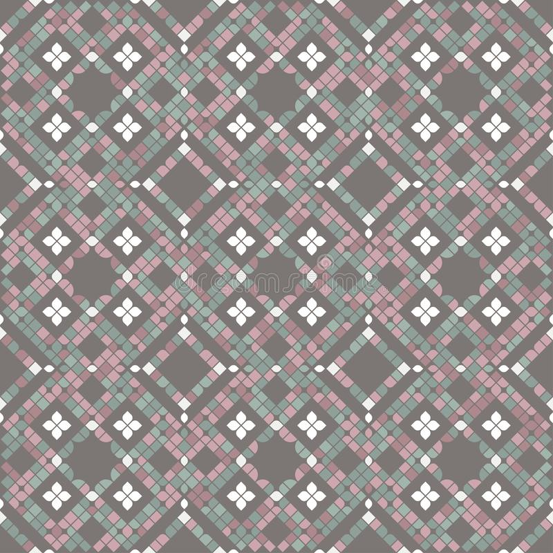 Κεραμίδια μωσαϊκών πατωμάτων στα χρώματα κρητιδογραφιών διανυσματική απεικόνιση