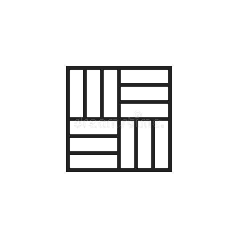 Κεραμιδιών εικονίδιο, σύμβολο ή λογότυπο περιλήψεων διανυσματικό απεικόνιση αποθεμάτων