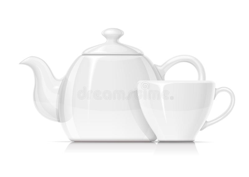 Κεραμικά teapot και φλυτζάνι Κούπα κατσαρολών πορσελάνης για το τσάι r ελεύθερη απεικόνιση δικαιώματος
