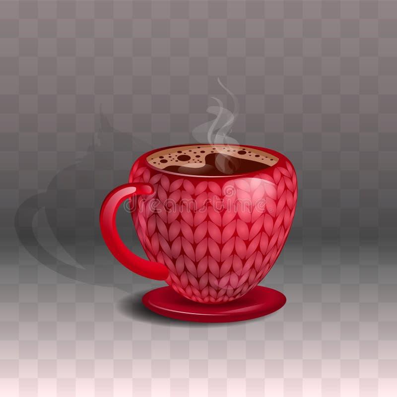 Κεραμική κόκκινη κούπα με τον καφέ, με μια όμορφη πλεκτή τυπωμένη ύλη Σε ένα διαφανές υπόβαθρο απεικόνιση αποθεμάτων