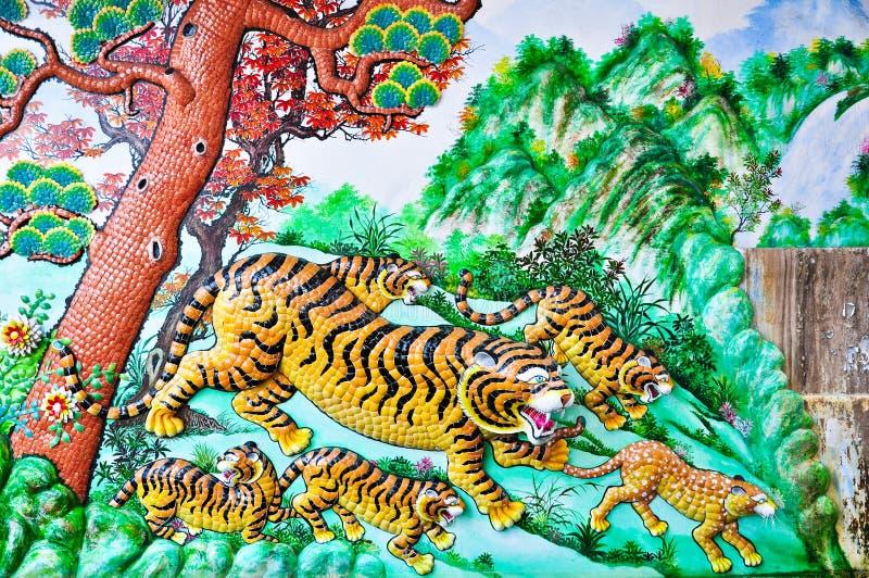 κεραμικός τοίχος τιγρών στοκ εικόνα με δικαίωμα ελεύθερης χρήσης
