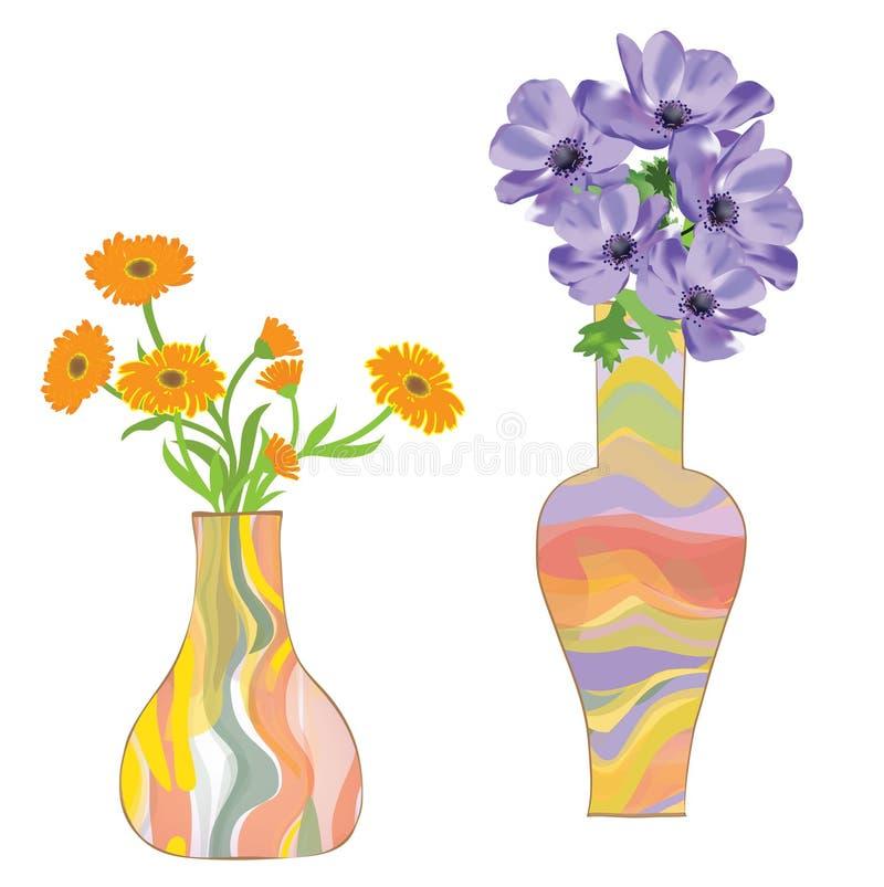 κεραμικό ζωηρόχρωμο λουλούδι δύο vases διανυσματική απεικόνιση