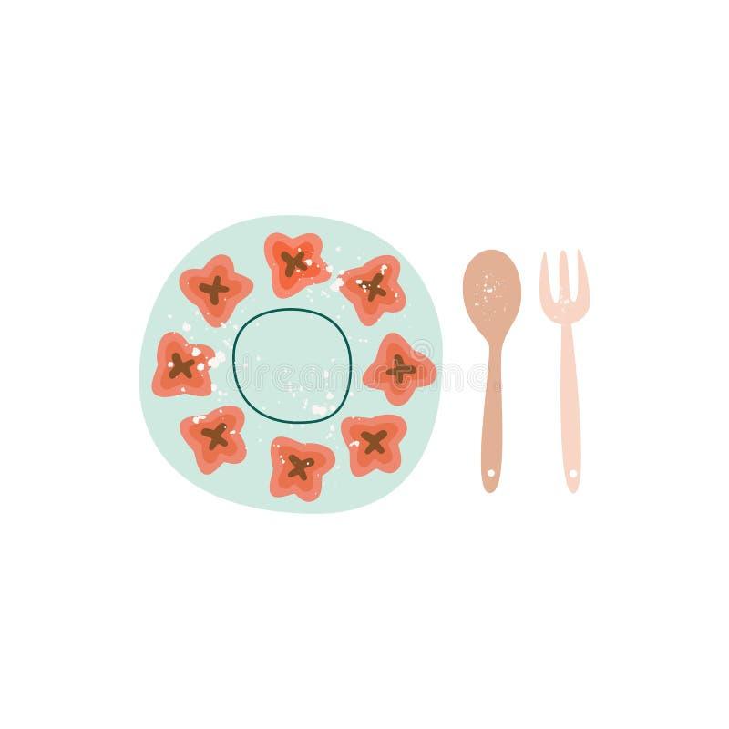 Κεραμικό πιάτο και ξύλινο ύφος κουταλιών και επίπεδο κινούμενων σχεδίων δικράνων διανυσματική απεικόνιση