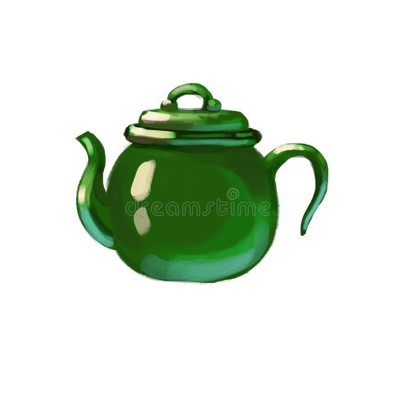 Κεραμικό συρμένο teapot διανυσματική απεικόνιση