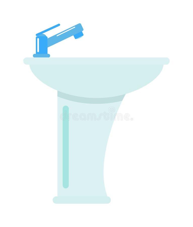 Κεραμικό washbasin λουτρών στο άσπρο διανυσματικό εικονίδιο νεροχυτών στροφίγγων υγιεινής υποβάθρου ελεύθερη απεικόνιση δικαιώματος
