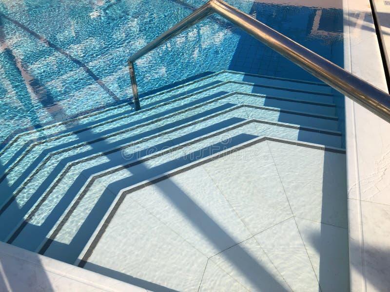 Κεραμωμένα βήματα μιας λαμπιρίζοντας πισίνας στοκ εικόνες