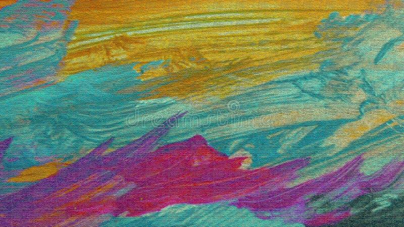 Κεραμωμένη επιφάνεια Ακρυλικά μπαλώματα στον καμβά Κατασκευασμένο ψηφιακό έγγραφο Κυματιστό έργο τέχνης Άποψη τοπίων φύσης απεικόνιση αποθεμάτων