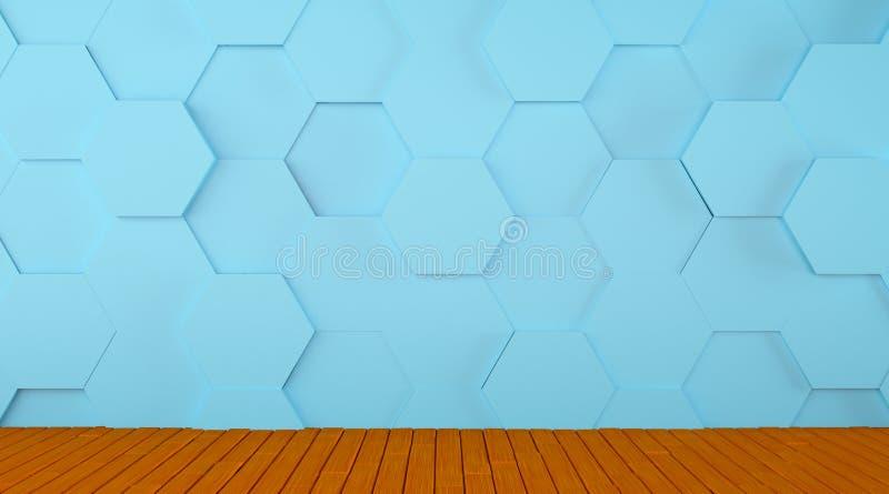 Κεραμωμένος μπλε τοίχος και ξύλινο υπόβαθρο πατωμάτων διανυσματική απεικόνιση