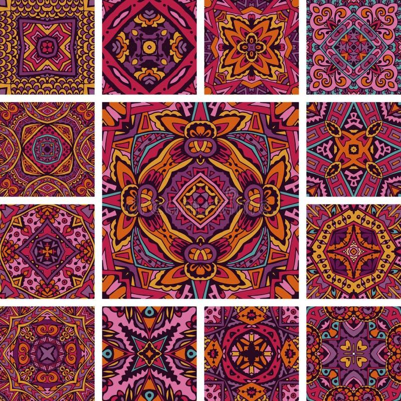Κεραμωμένο εθνικό σχέδιο για το psychedelic των Αζτέκων σύνολο boho υφάσματος Αφηρημένο γεωμετρικό μωσαϊκό διανυσματική απεικόνιση