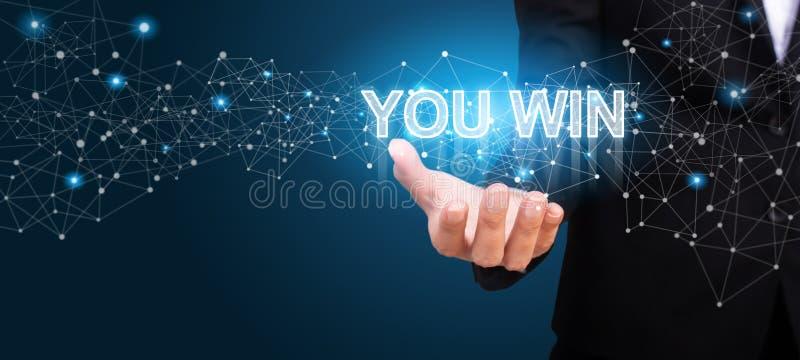 Κερδίζετε στο χέρι της επιχείρησης κερδίζετε την έννοια στοκ φωτογραφίες με δικαίωμα ελεύθερης χρήσης
