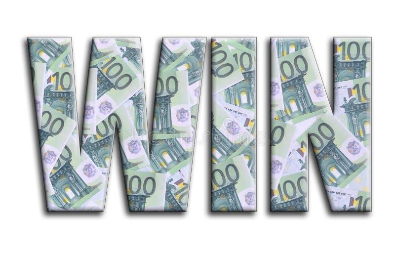 κερδίστε Η επιγραφή έχει μια σύσταση της φωτογραφίας, η οποία απεικονίζει πολλούς 100 ευρο- λογαριασμούς χρημάτων στοκ εικόνες