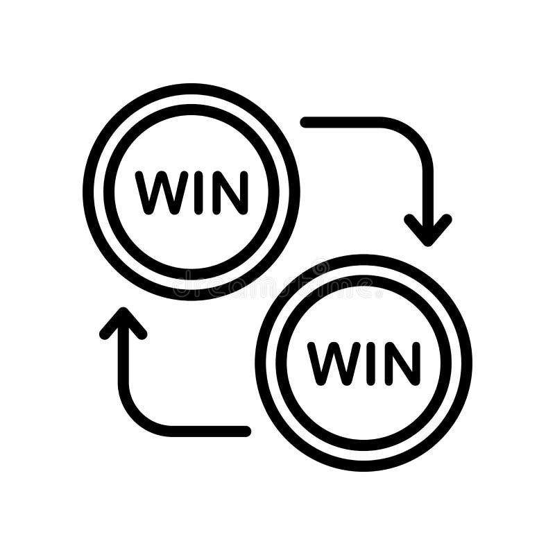 Κερδίστε σημάδι και το σύμβολο εικονιδίων το διανυσματικό που απομονώνονται στο άσπρο υπόβαθρο, WI ελεύθερη απεικόνιση δικαιώματος