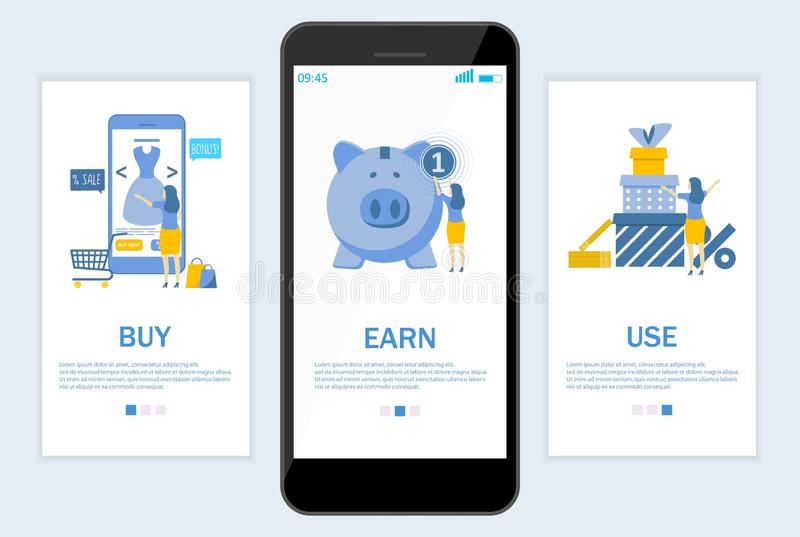 Κερδίστε cashback τον ιστοχώρο και το κινητό app onboarding διανυσματικό πρότυπο οθονών απεικόνιση αποθεμάτων