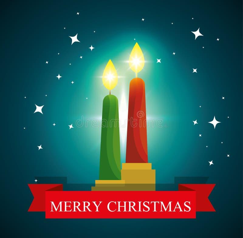 Κεριά και αστέρια στον εορτασμό Χαρούμενα Χριστούγεννας ελεύθερη απεικόνιση δικαιώματος