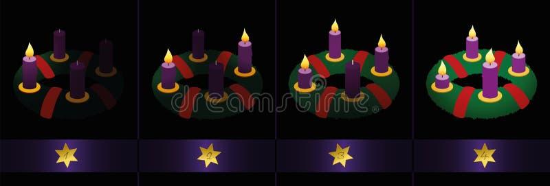 Κεριά στεφανιών εμφάνισης που καίνε τέσσερις Κυριακές απεικόνιση αποθεμάτων