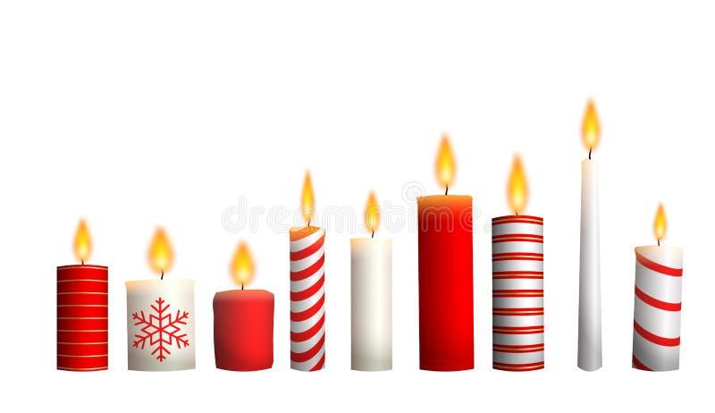 Κεριά Χριστουγέννων που απομονώνονται στο άσπρο υπόβαθρο, απεικόνιση απεικόνιση αποθεμάτων