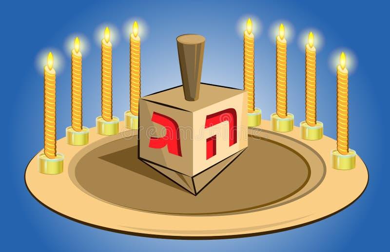 Κεριά Hanukkah με το παραδοσιακό τοπ παιχνίδι απεικόνιση αποθεμάτων