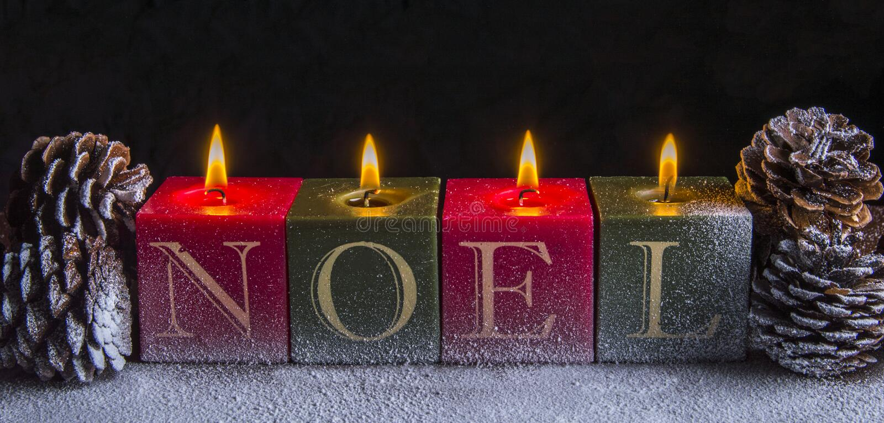 Κεριά Noel Χριστουγέννων στοκ εικόνες με δικαίωμα ελεύθερης χρήσης