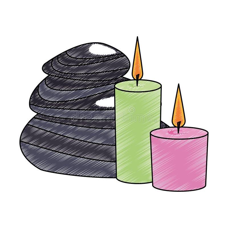 Κεριά SPA με την κακογραφία πετρών διανυσματική απεικόνιση