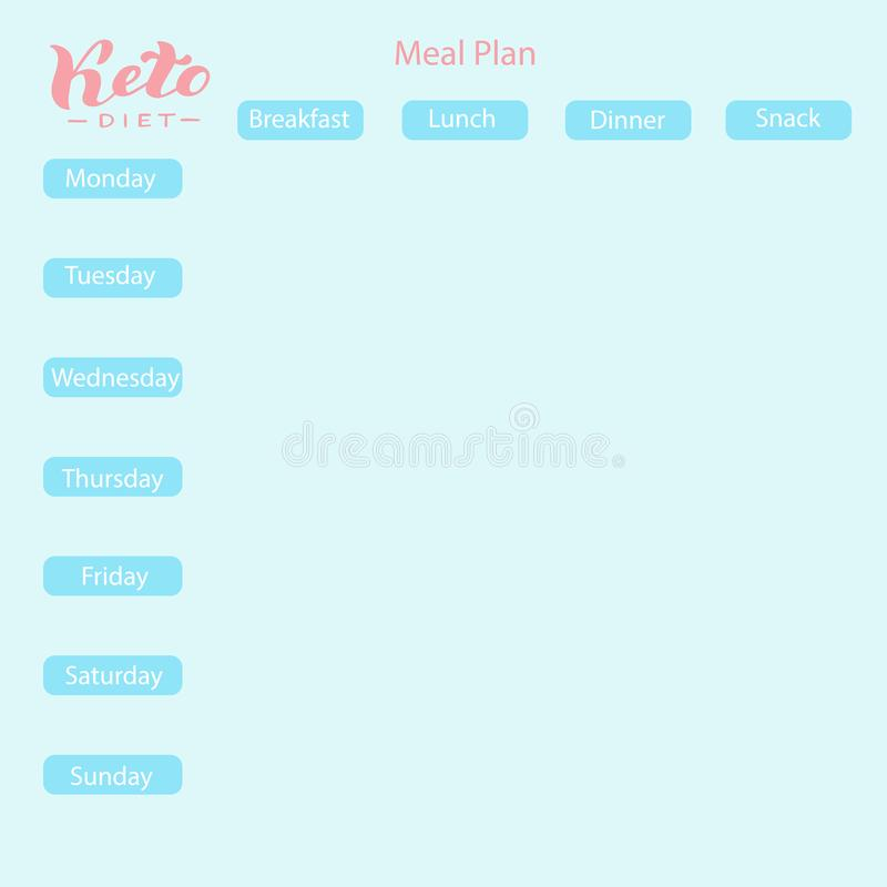 Κετονογενετικό σχέδιο γεύματος διατροφής Keto υγιής υπολογισμός με λογιστικό φύλλο (spreadsheet) επιλογών deit εβδομαδιαίος Υγιή  διανυσματική απεικόνιση
