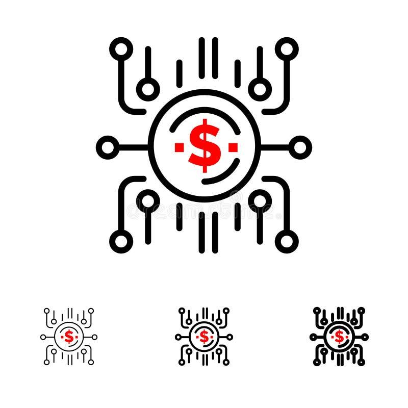 Κεφάλαιο πλήθους, χρηματοδότηση πλήθους, πώληση πλήθους, πώληση πλήθους, σύνολο εικονιδίων γραμμών χρηματοδότησης τολμηρό και λεπ ελεύθερη απεικόνιση δικαιώματος