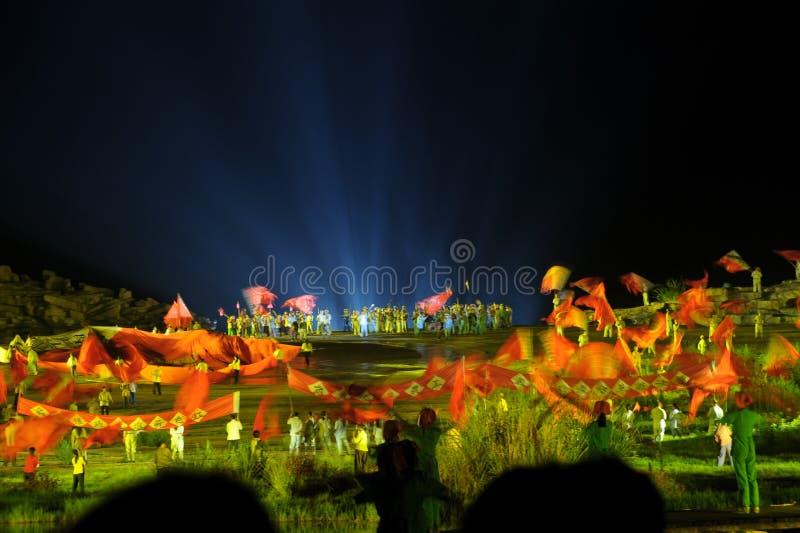 Κεφάλαιο 1 σημαία ` ` - η μεγάλης κλίμακας όχθη ποταμού παρουσιάζει ` Jinggangshan ` στοκ φωτογραφία με δικαίωμα ελεύθερης χρήσης
