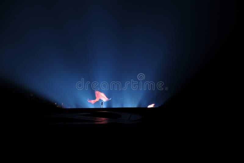 Κεφάλαιο 1 σημαία ` ` - η μεγάλης κλίμακας όχθη ποταμού παρουσιάζει ` Jinggangshan ` στοκ φωτογραφίες
