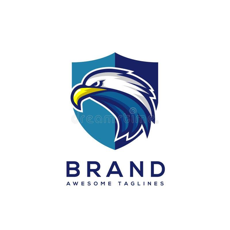 Κεφάλι αετών με το πρότυπο λογότυπων ασπίδων απεικόνιση αποθεμάτων