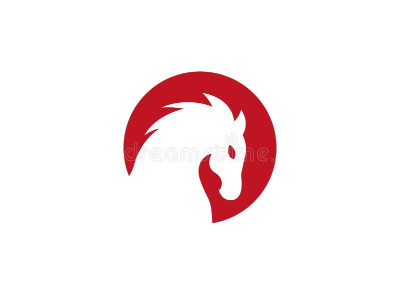 Κεφάλι αλόγων μέσα σε έναν κόκκινο κύκλο για το λογότυπο απεικόνιση αποθεμάτων