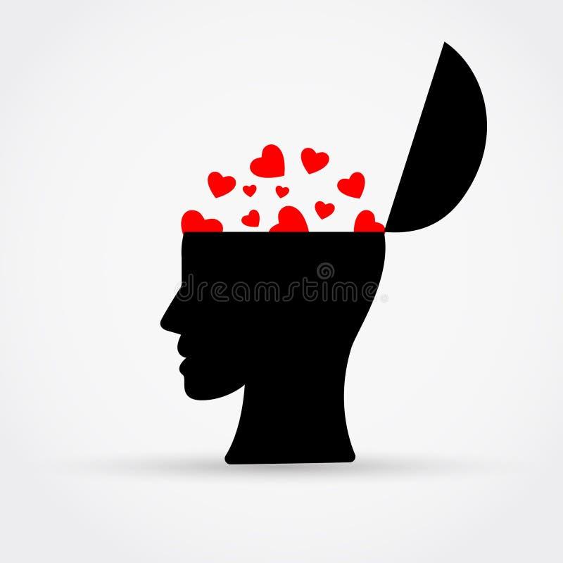 Κεφάλι ατόμων με τις καρδιές επίσης corel σύρετε το διάνυσμα απεικόνισης διανυσματική απεικόνιση
