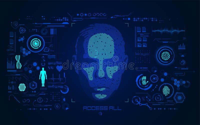 Κεφάλι δακτυλικών αποτυπωμάτων διανυσματική απεικόνιση