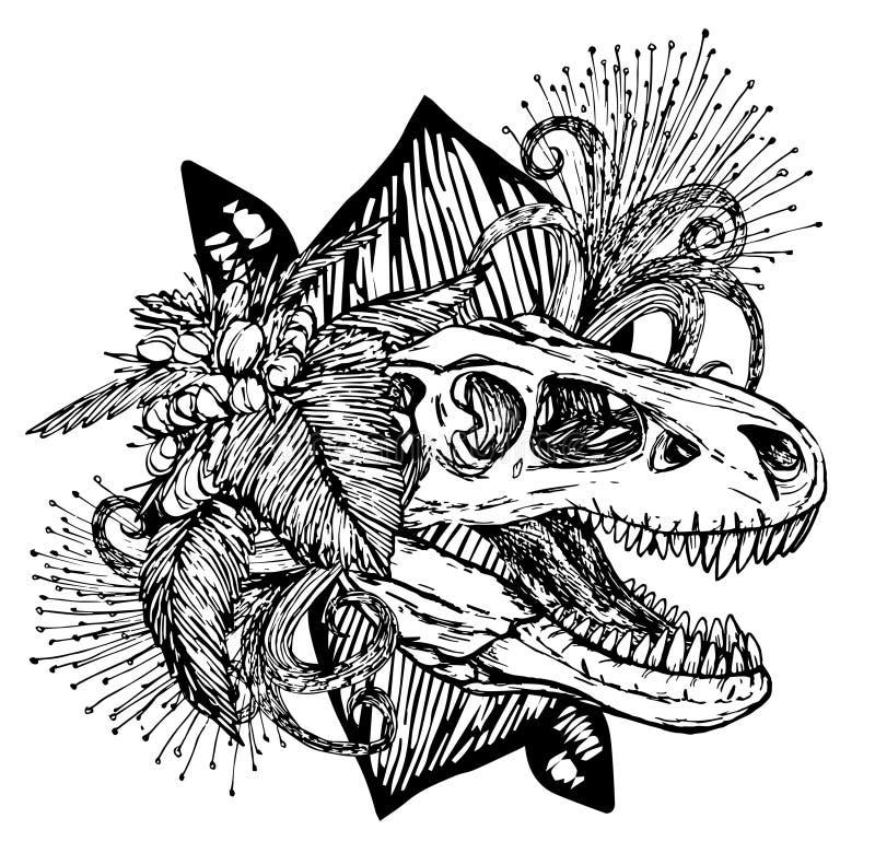 Κεφάλι δεινοσαύρων του κρανίου και των λουλουδιών turex διανυσματική απεικόνιση