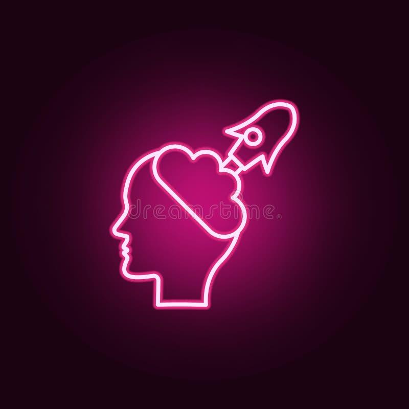 Κεφάλι, δημιουργικός, εικονίδιο νέου πυραύλων Στοιχεία της δημιουργικής σκέψης καθορισμένα Απλό εικονίδιο για τους ιστοχώρους, σχ ελεύθερη απεικόνιση δικαιώματος