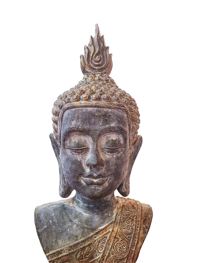 Κεφάλι ειδωλίων του Βούδα στο άσπρο υπόβαθρο στοκ φωτογραφία με δικαίωμα ελεύθερης χρήσης