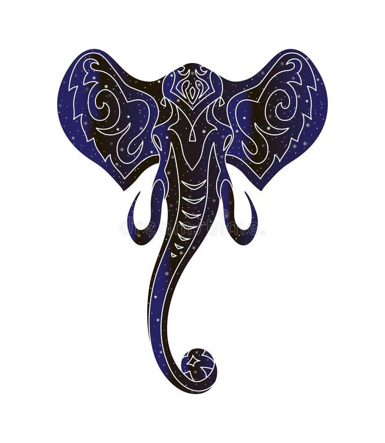 Κεφάλι ελεφάντων με τη σφαίρα Διανυσματική ζωική απεικόνιση γραμμών, σκιαγραφία χρώματος νυχτερινού ουρανού που απομονώνεται στο  απεικόνιση αποθεμάτων