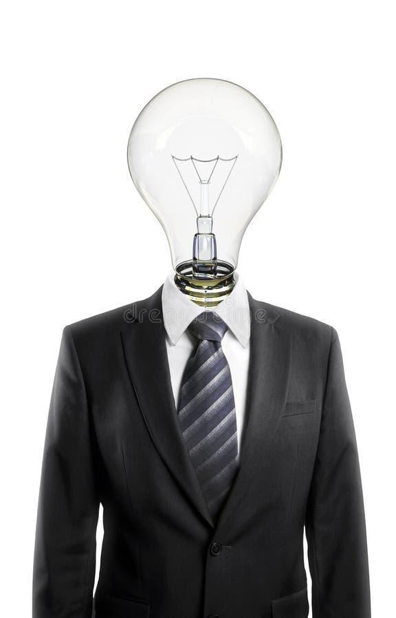 κεφάλι επιχειρηματιών lightbulb στοκ φωτογραφίες