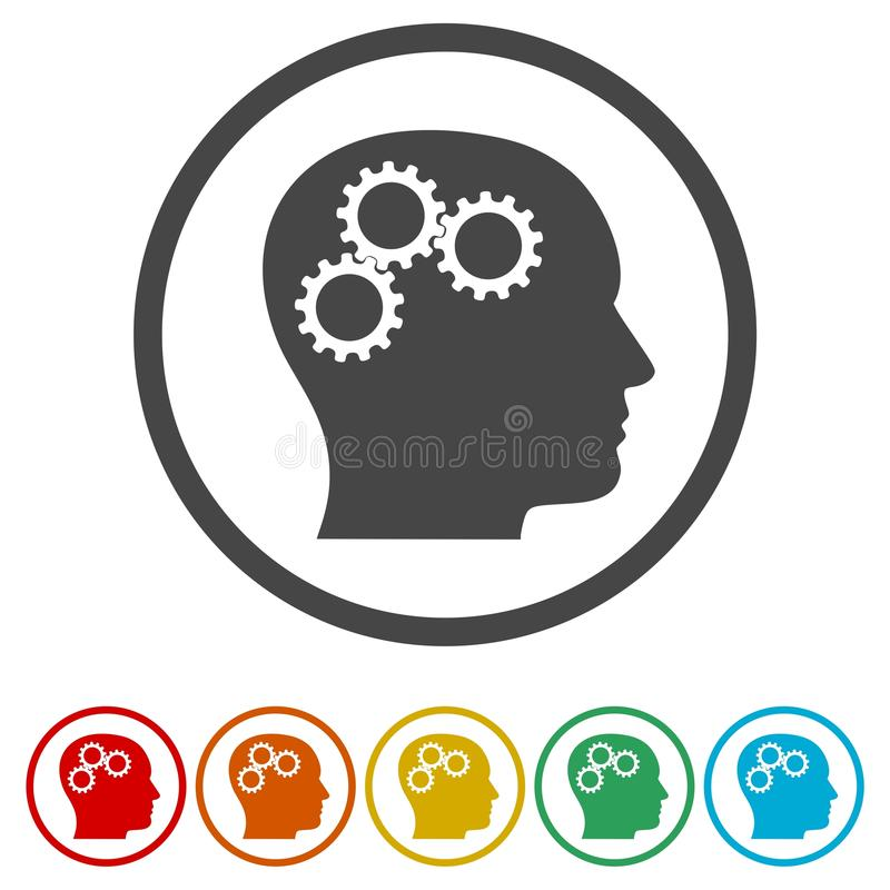 Κεφάλι με την έννοια εργαλείων, διανυσματικά εργαλεία λογότυπων στο κεφάλι, 6 χρώματα συμπεριλαμβανόμενα απεικόνιση αποθεμάτων