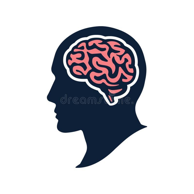 Κεφάλι σκιαγραφιών το διανυσματικό επίπεδο illustation εγκεφάλου που απομονώνεται με στο λευκό απεικόνιση αποθεμάτων