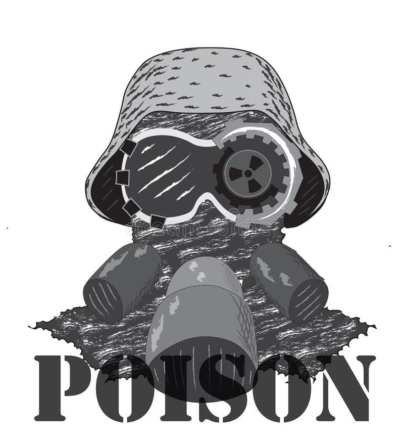 Κεφάλι στο κράνος Χωρίς υπόβαθρο Η επιγραφή του δηλητήριου στοκ φωτογραφίες με δικαίωμα ελεύθερης χρήσης