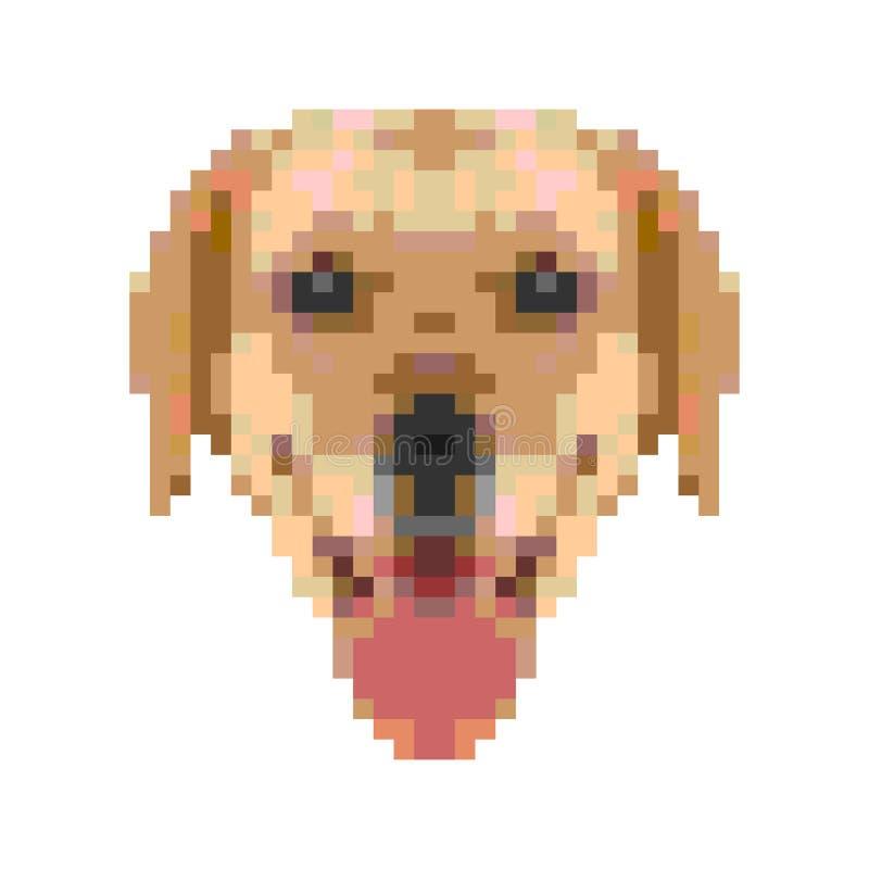 Κεφάλι του Λαμπραντόρ ` s στα εικονοκύτταρα Κίτρινο γήινο σκυλί 2018 έτος ελεύθερη απεικόνιση δικαιώματος
