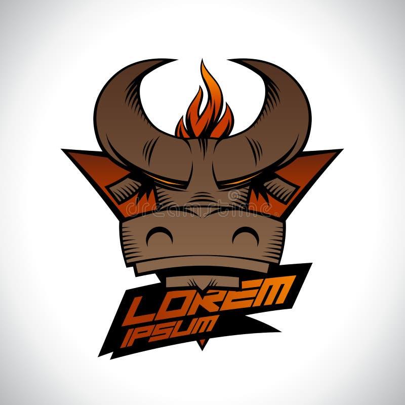 Κεφάλι του Bull με τη φλόγα πυρκαγιάς ενάντια στο λογότυπο τριγώνων διανυσματική απεικόνιση