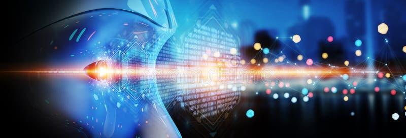 Κεφάλι Cyborg που χρησιμοποιεί την τεχνητή νοημοσύνη για να δημιουργήσει το ψηφιακό inte απεικόνιση αποθεμάτων