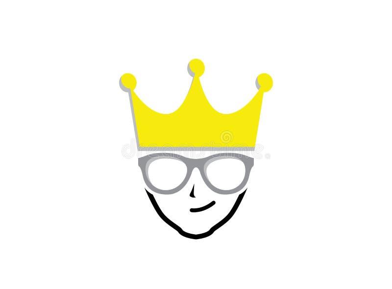 Κεφάλι Geek με την κορώνα που φορά το σχέδιο λογότυπων γυαλιών απεικόνιση αποθεμάτων